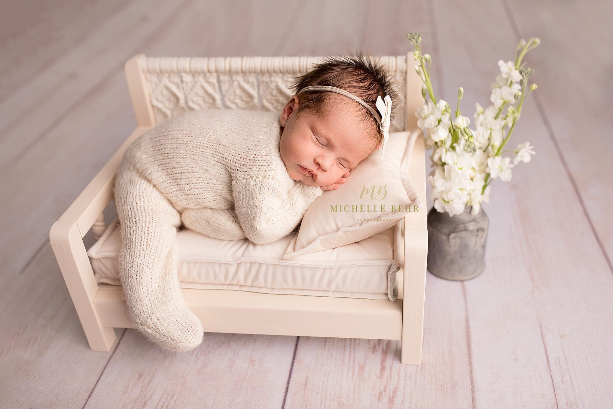 Two-sided velvet mattress with two pillows and headband for macrame beds,newborn photo prop
